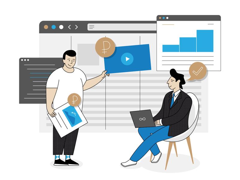 Ad Platform product design people b2b simple vector illustaror