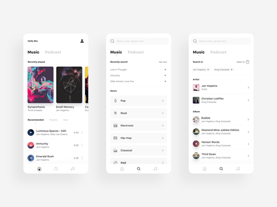 Music player - Home & Search minimalism search home podcast player mobile ui playlist cover list music app