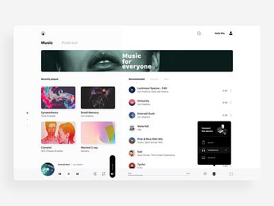 Music player - desktop app ui dashboard top dropdown tooltip navigation cover avatar artist playlist screen app desktop player msuic