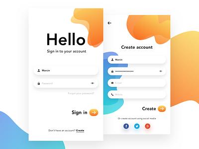 Login & Sign up screen input gradient mobile screen form signin design ui app