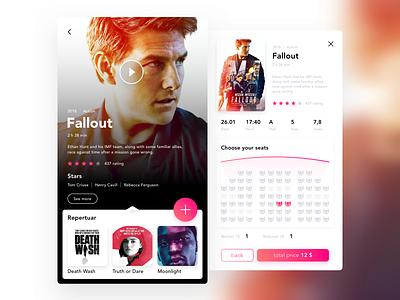 Cinema screen booking kino movie mobile screen cinema design ui app