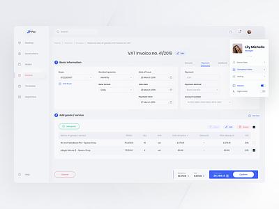 Invoice - Web App menu sidebar list dashboard product payment money finance invoice app web ux ui