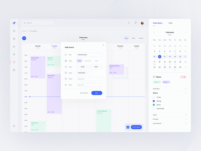Invoice webapp - calendar accountant app invoice interface schedule edit event finance calendar app web dashboard calendar ui