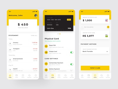 Nomad App Redesign uidesign simple ux ui mobile design mobile ui app card balance money transfer financial app mobile ui ux ios clean design2020 tech minimal adobe xd