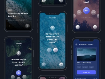 Meditation app concept ios app app meditation cocept mobile ios mobile ui mobile app inspirational natural purple uiux ux ui design clean ui  ux design onboarding meditation app adobe xd