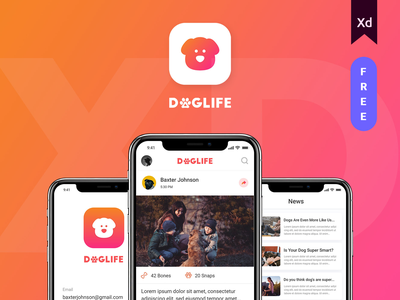 Doglife Ui-Kit Free for Adobe XD free freeuikit made with xd adobe xd dog social media dog lover doglife free app uikit ui  ux design app