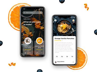 Recipe app Concept flat fun iphone x app recipedetails recipeapp search madewithadobexd ui  ux design uiux app concept foodapp foodlover recipe app madewithxd adobe xd design