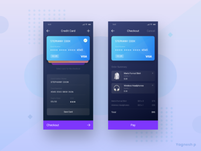 Daily UI Challenge #002 ios ui  ux ui creditcard payment checkout clean simple gradient color dark colors darkapp dailyui 002 dailychallange daily dailyui madewithxd app design ui  ux design adobe xd