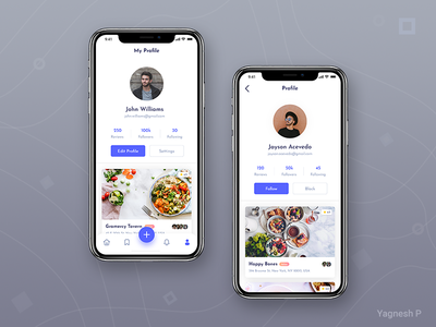 Daily UI Challenge #006 simple dailyuichallange food app ui food app uxdesign uidesign rating follow me follower review restaurant app food profile dailyui daily madewithxd clean design ui  ux design adobe xd