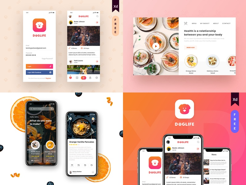 My #Top4Shots from 2018 top4 best4 food recipe mobile landing page web 2018 trends bestshot 2018 doglife ui  ux design design dog lover simple daily dailyui madewithxd adobe xd app