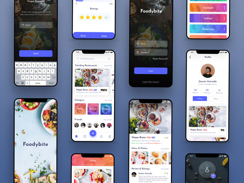 Foodybite App Design Concept food app blue clean review dish bite friend foodies food restaurant ui  ux design app free madewithxd adobe xd design