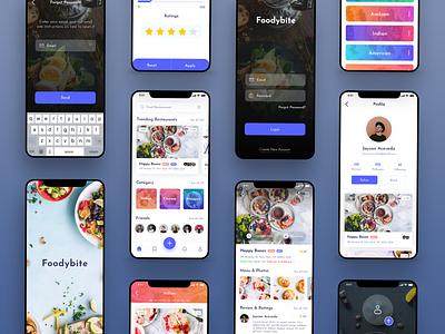 Foodybite App Design Concept food app blue clean review dish bite friend foodies food restaurant ui  ux design app free madewithxd adobe xd design