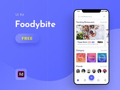 Foodybite - Free UI Kit for Adobe XD design adobe xd madewithxd free app ui  ux design restaurant food foodies friend bite dish review clean blue food app