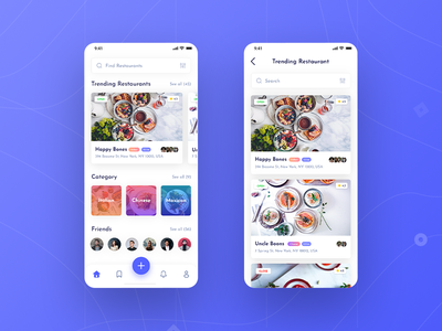 Foodybite - Free UI Kit for Adobe XD user interface appdesign inspiration category menu home food app blue clean review dish foodies food restaurant app free madewithxd adobe xd design