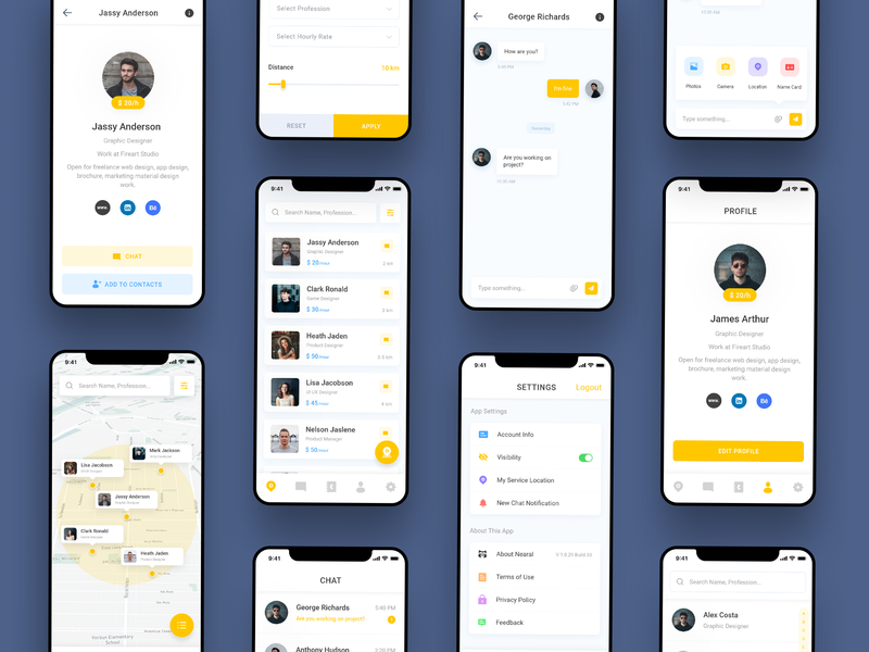 Nearal App Redesign app ui chat settings map user profile app nearal contacts freelance userinterface minimal yellow redesign inspiration ui  ux design madewithxd clean design adobe xd