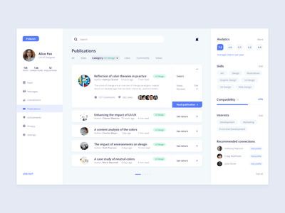 Researchers Network User Profile dashboard research network publication social network user profile user experience ux user interface ui ui  ux design dailyuidesign dailychallenge dailyui006 dailyui adobe xd 100daysofui