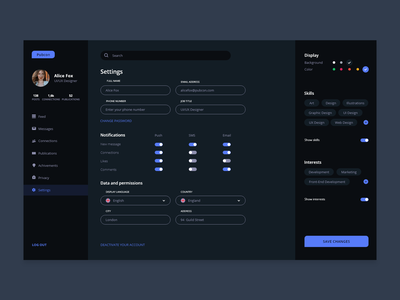 Researchers Network User Profile Settings dashboad settings page settings settings ui user profile user experience user inteface ui ux ux ui social network research publication network dailyuidesign dailyui007 dailyui dailyuichallenge adobe xd 100daysofui