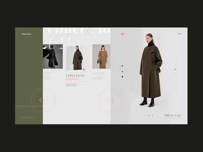 YourCoats . Fashion Platform Product Page carrousel product typography branding ecommerce digital design clean ui fashion