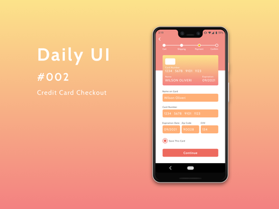 Daily UI 002 - Credit Card Checkout androidapp ux ui checkout page creditcardcheckout dailyuichallenge dailyui 002