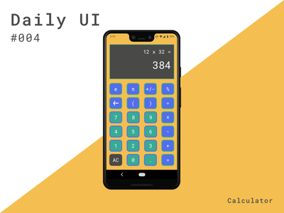 Daily UI 004 - Calculator (Helloooo Dribbble!) androidapp dailyuichallenge calculator dailyui004 dailyui 004