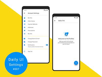 Daily UI 007 - Settings ui ux app design settings 007 100daychallenge illustration androidapp dailyui