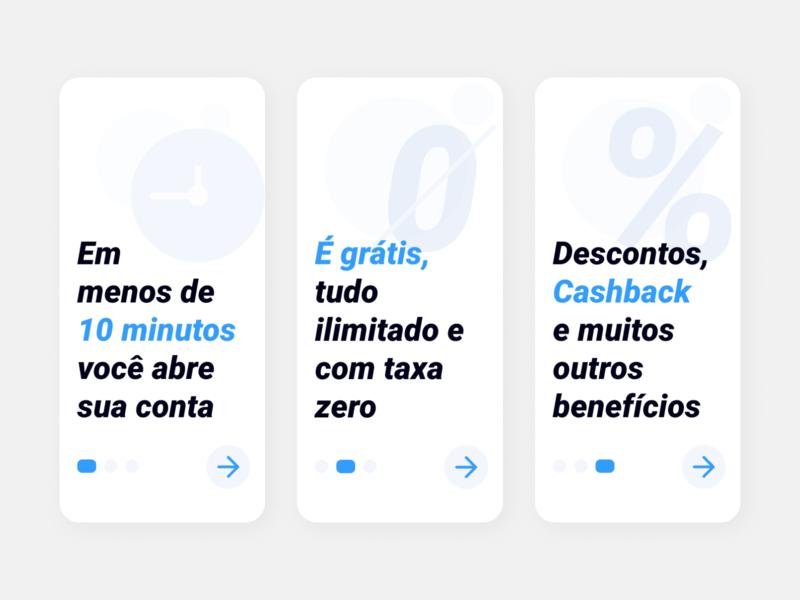 Onboarding presentation study finance business banking app carousel dots blue finance bank ui design design app