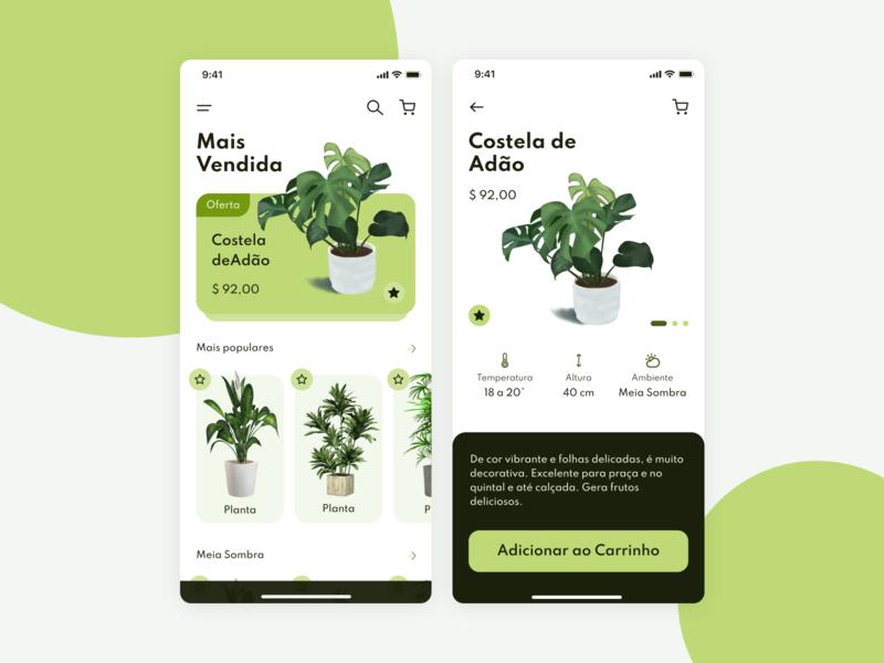 Plant Shop shopping market app design mobile ui mobile uidesign ui design study ui app design card green shop plant