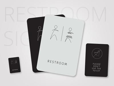 Restroom Sign cards toilet boy girl sign restroom sign