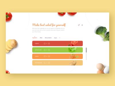 Web shot for making vegetarian salads