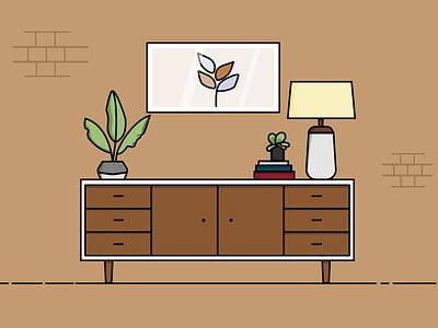 Buffet furniture flat design appartment illustration living room