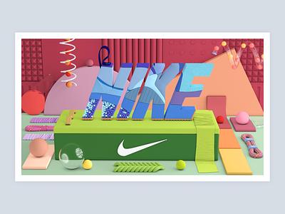 Nike 3d art logo cg render cinema4d c4d 3d nike