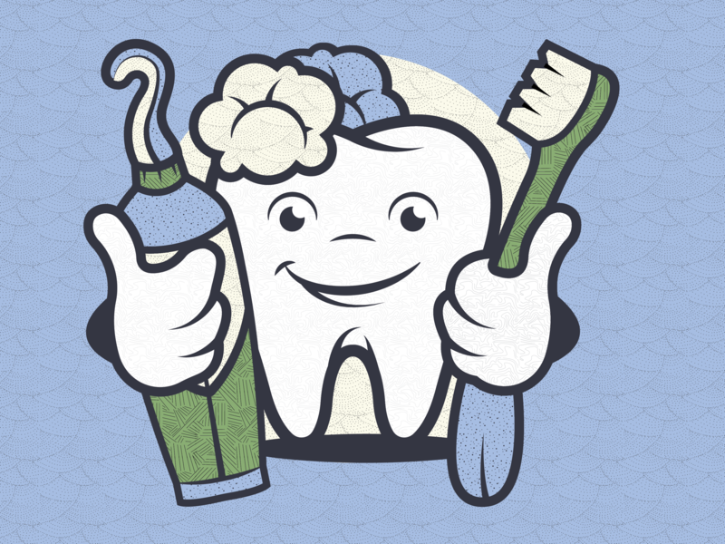 Dental Character icon design illustration