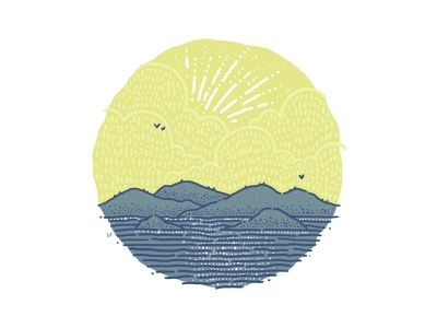 Peek-a-Boo Rays color block sea ocean birds nature sunset mountains whimsical clouds illustration