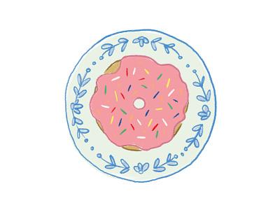 Pink Glaze and Sprinkles food illustration pink sprinkle doughnut donut cute illustration 2d