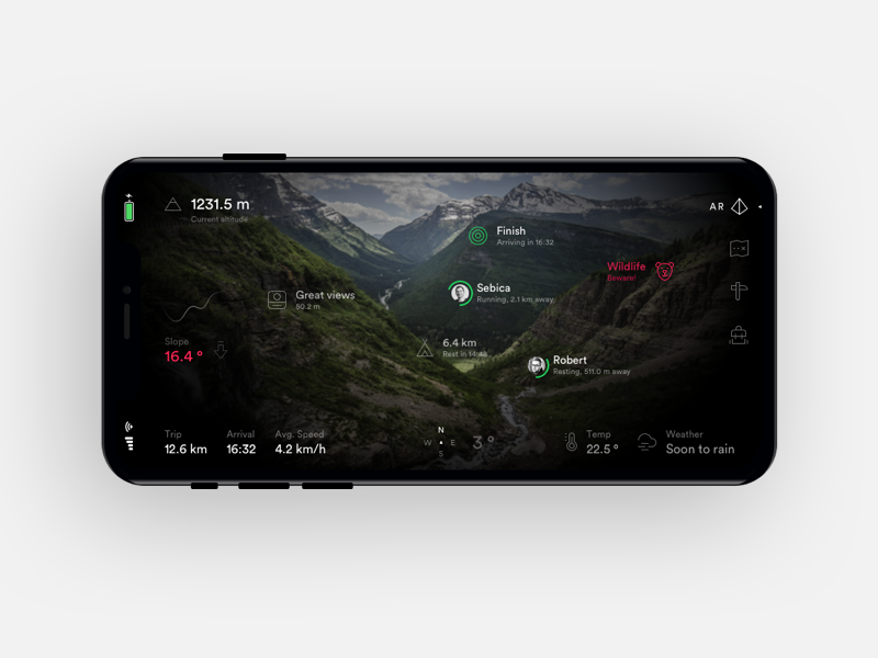 Augmented reality - Hiking app mobile dark map ui augmented app mountain hiking