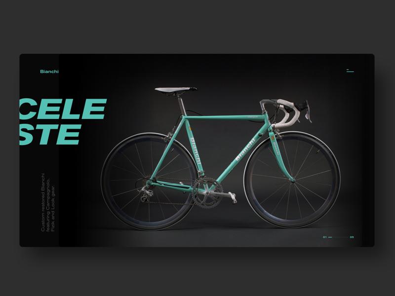 CELESTE - custom bicycle layout experiment slider presentation app blue speed bike product dark minimal bicycle
