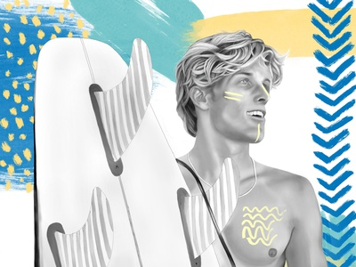 Luke blackandwhite surfing procreate illustration ethnic portrait tribe tribal boho surfer surf