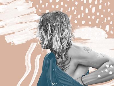 Coby Perkovich procreate boho illustration aboriginal surf portrait surfing surfer surf art surf board