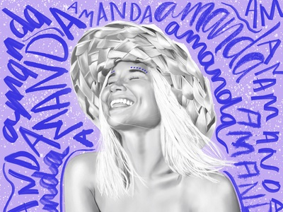 Amanda procreate blackandwhite ethnic illustration lettering tribal boho surfing surfer surf sweden portrait illustration