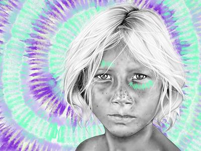 Tama tribe hawaii surfing surf procreate portrait boho tye dye