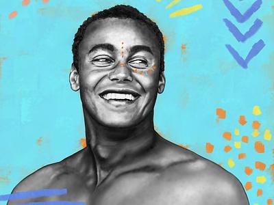Wiggolly ethnic procreate surfing portrait illustration portrait tribal boho surfer surf