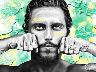 Filipe water waterpainting tiedye boho surfart illustration portrait tribal surfers sanclemente surfer