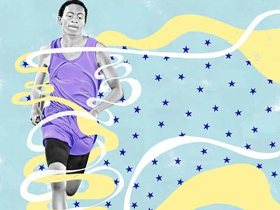 Mike ribbon americanflag american runner illustration blacklivesmatters sportillustration portrait running
