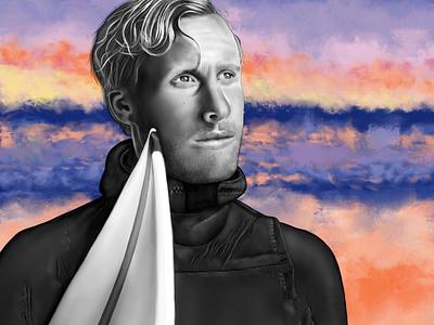 Live to Sea portrait illustration portrait surfing movie poster movie sweden surfers surfer