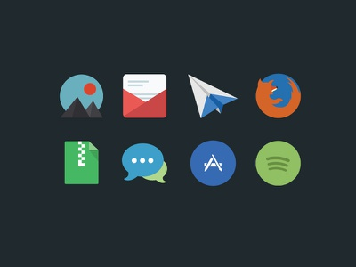 Program icons flat icon program spotify mail apple zip