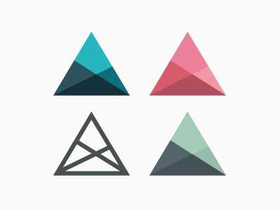 Geometry triangle logo identity blue minimalistic pink green applove triangles flat