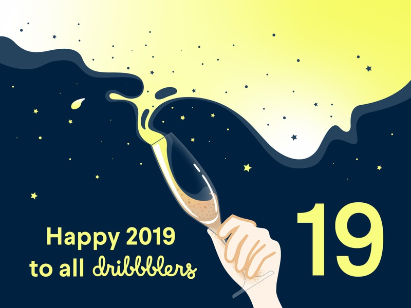 Greetings 2019 design community dribbble 2019 greetingcard flat vector illustration