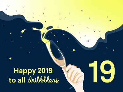 Greetings 2019 design community dribbble 2019 greetingcard flat vector illustration