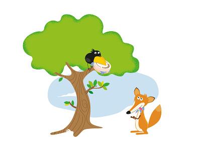 Fox & Crow flat vector illustration