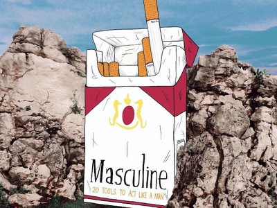 20 Tools To Act Like A Man editorial illustration lol funny humor art substances feminism masculinity masculinism popular culture pop culture cigarettes photography photo design drawing illustration smoking cigarette marlboro